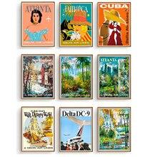 Posters de viaje Retro Delta aerolíneas de la lona de la pintura de la vendimia de los niños de Kraft póster pegatinas de arte de la pared clásicas para guardería