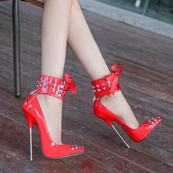 Odinokov Rivet High Heels Luxury Designer Women Shoes 16cm Party Thin Heels Classics Pointed Toe  Gladiator Rome Pumps