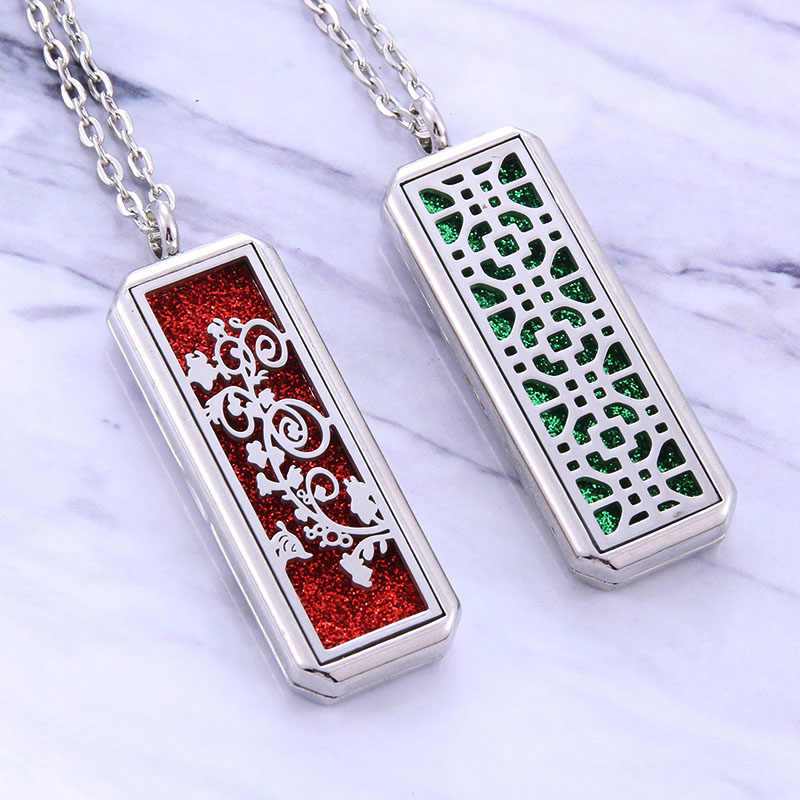 Silver rectangle Aromatherapy locket Necklace charm Fashion Perfume Aroma Essential Oil Diffuser Pendant Necklace women Jewelry
