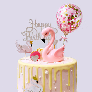 Image 4 - Flamingo Wedding Cake Toppers Balloon Cupcake Topper for Decoration Kids Birthday Party Baby Shower Topper wedding Cakes Baking