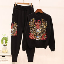 Ensemble deux pièces perle femmes survêtement embelli aigle broderie 2 pièces ensemble survêtement pantalon tenues Stretch Ulzzang vêtements Chic(China)