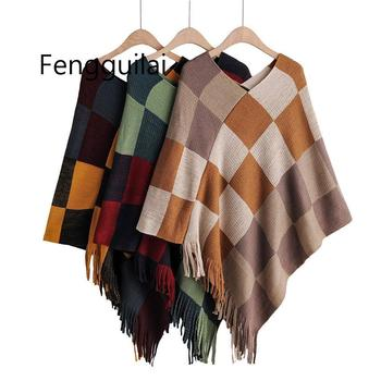 Women's Sweater Color Block V Neck Plaid Knit Sweater Wrap Shawl With Tassels Cover Up Swing Woman Autumn Winter Jumpers o ring zip up color block sweater