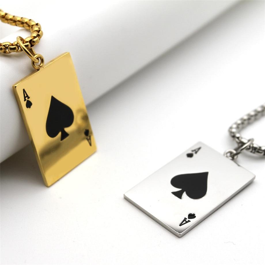 Collar con colgante de cartas de póker para hombre, gargantilla de Color dorado/plateado de acero inoxidable, joyería de moda