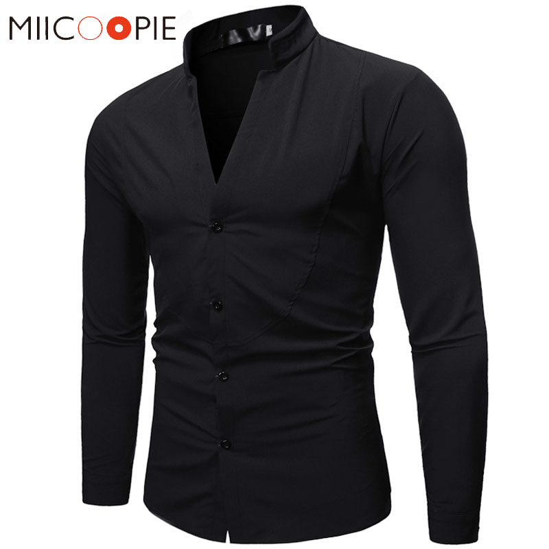V Neck Solid Color Shirt Men Spring Autumn Long Sleeve Stand Collar Business Dress Shirt Male Formal Camisa Social Masculina XXL
