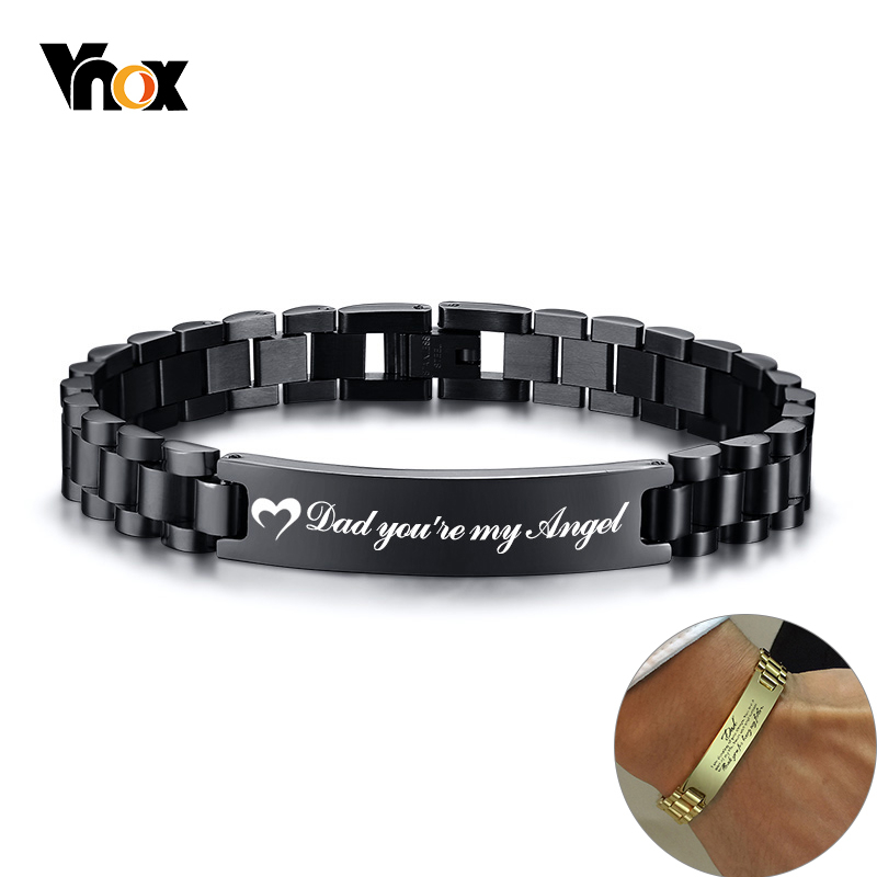 Vnox Personalized Heart Thanks Quotes to Dad Men Bracelet Stainless Steel Casual Gents Customized Meaningful Father's Day Gift