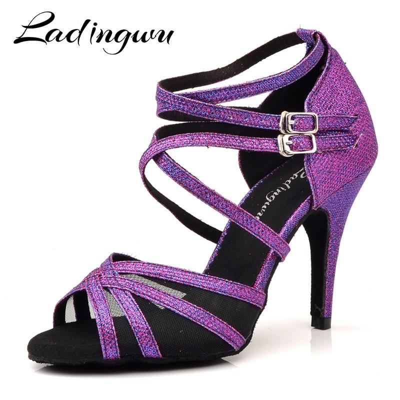 Ladingwu Latin Dance Shoes Purple Flash Cloth Size US 3.5-12 10cm Heel Height Professional Salsa Dance Shoes For Women