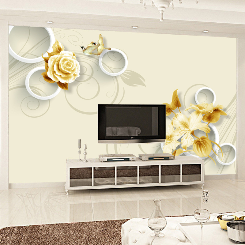 Simple 3D Mural Background Of Television In The Drawing Room Wallpaper Mural Whole Piece Non-woven Wallpaper Wall Cloth