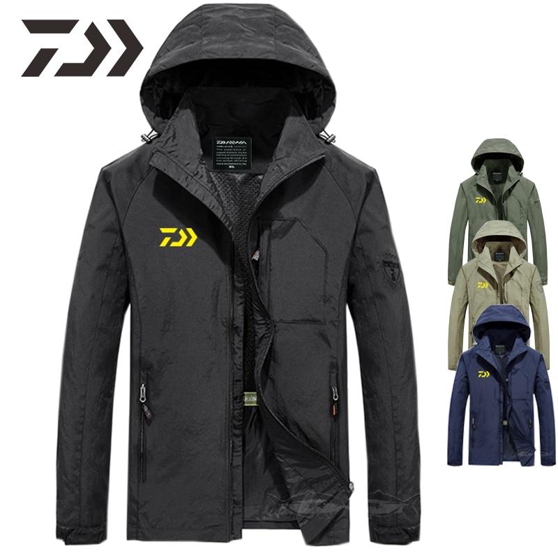 Daiwa Fishing Jacket Men Thin Breathable Multi-pocket Spring Hooded Fishing Clothes Men Zipper Solid Clothing Fishing Shirts