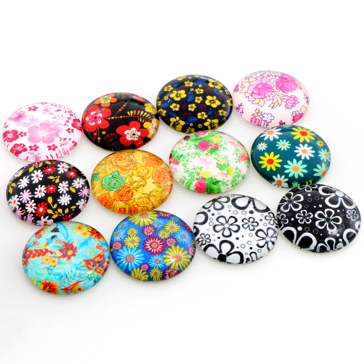 8mm 10mm 12mm-25mm Flower Print Photo Glass Cabochons Mixed Color Cabochons For Bracelet Earrings Necklace Bases Settings