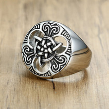 Silver Men's Knot Ring Wedding Brands Stainless Steel Bague Biker Vintage Bijoux Wholesale Claddagh Irish Jewelry(China)