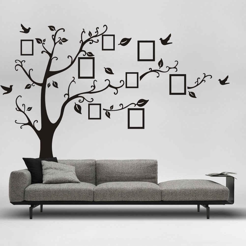 Adesivo de parede removível customizável de árvore da família, decalque de parede em vinil, árvore preta para decoração da família, diy, mais novo, 2020 pvc 70x120cm