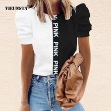 Summer Office Lady O-Neck camicette camicie New Fashion Patchwork lettera stampa top allentati Casual donna manica corta a sbuffo Blusas 2XL