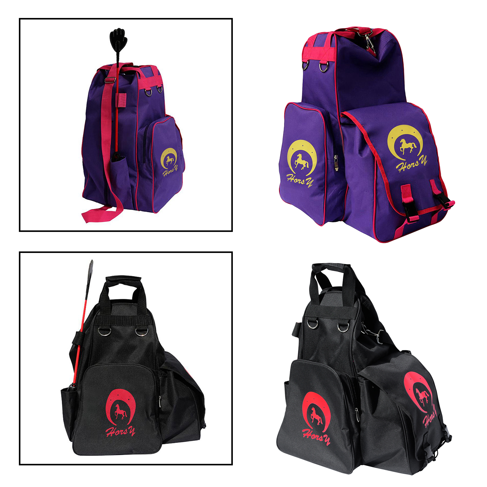 Outdoor Equestrian Backpack Horse Riding Armor Gloves Whip Bag Running