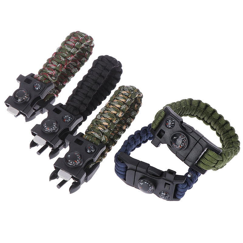 Men Bracelet Woven Rope Multifunctional Umbrella Rope Military Survival Bracelet For Men Outdoor Camping Emergency Whistle Tools