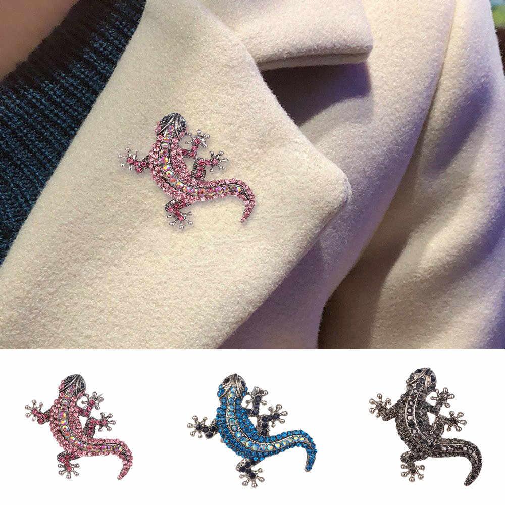 トカゲブローチカラフルなラインストーンの Gecko コサージュブートニエールヴィンテージ女性のためのジュエリーピンシャツセータースカーフドレスギフト