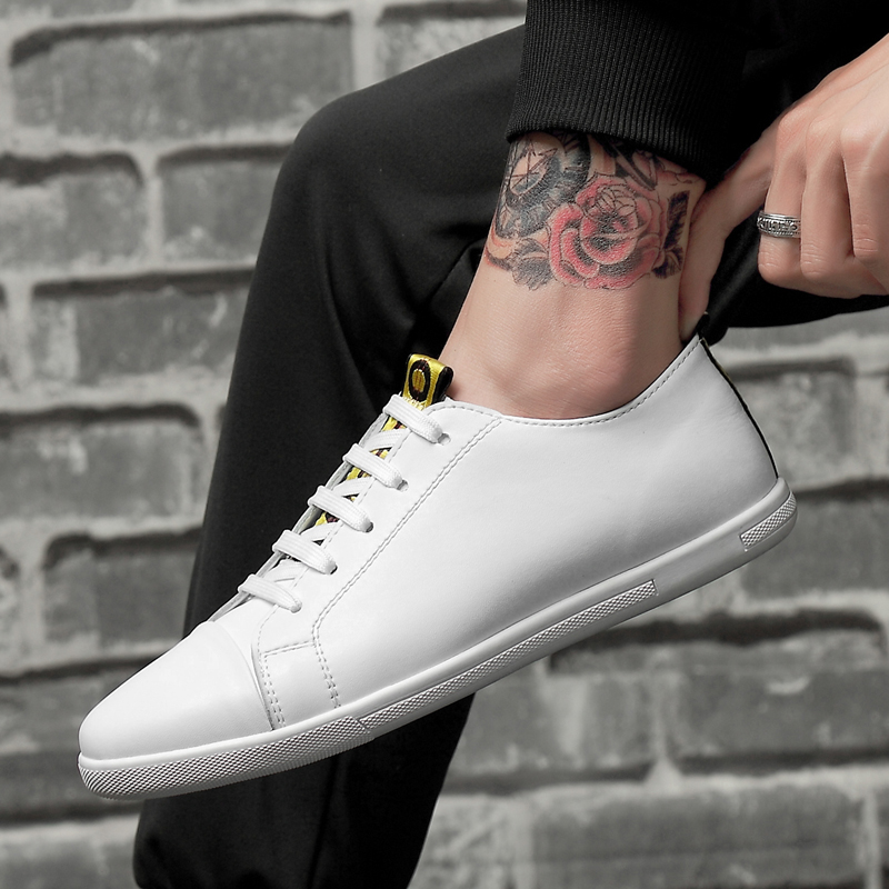 HAROGATH Brand Quality Vulcanized Shoes Men Flat Leather Casual Shoes Man Fashion Soft Walking Shoes Male Tenis Masculino Adulto in Men 39 s Casual Shoes from Shoes