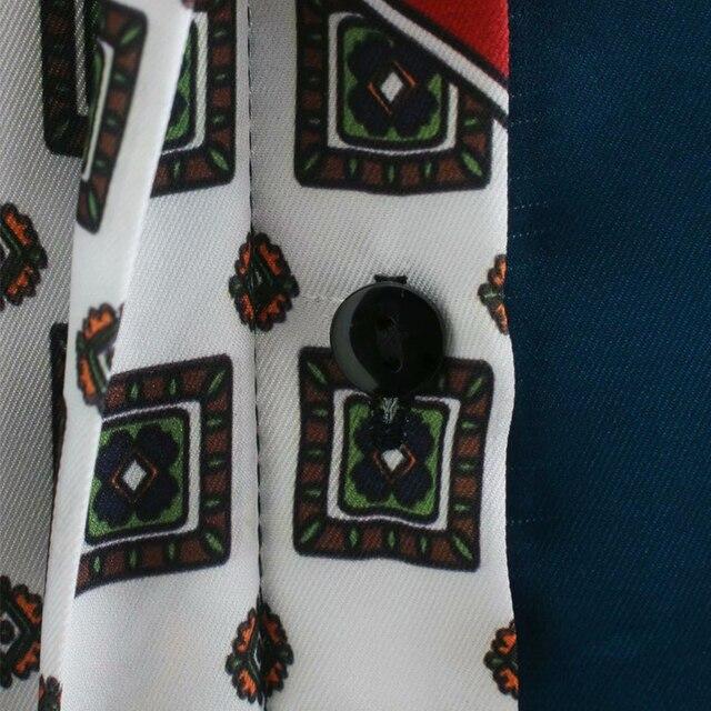ZA 2020 New Fashion Women 3D print Folds chiffon shirt Blouses Turn-down Collar Long Sleeve Shirt Casual Loose Tops 6