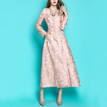 Fall Spring Fashion Womens Female Embroidery Flower High Waisted Long Trench