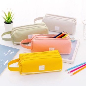 Large capacity pencil case bag double-layer simple multi-functional pencil box  Pouch Case School Office Stationary Supplies