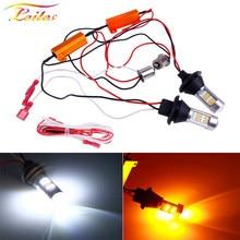 2pcs BA15S 1156 P21W BAU15S PY21W T20 W21W 7440 42LED Canbus DRL Running lights Turn Signal Light Dual Mode For Car Lighting