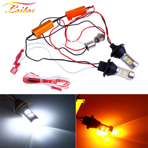 2pcs BA15S 1156 P21W BAU15S PY21W T20 W21W 7440 42LED Canbus DRL Running lights Turn Signal Light Dual Mode For Car Lighting