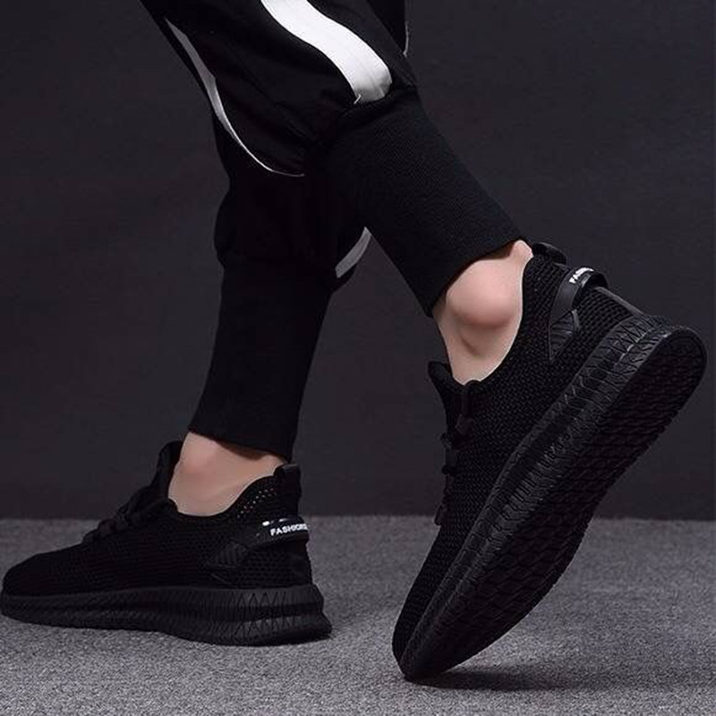2019 New Style Autumn Breathable Fly Netting Surface Casual Shoes Korean-style Trend Shoe Trendy Shoes Soft Bottom MEN'S SHOES