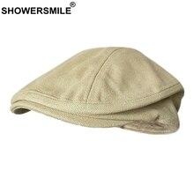 SHOWERSMILE Spring Summer Canvas Flat Cap for Men Beret Hat 100% Cotton Beige Iv