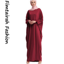Fashion Bat Sleeve Kaftan Abaya Muslim Women Long Hijab Dress Red Loose Comfortable Cotton Spandex islamic Clothing RobeI slam(China)