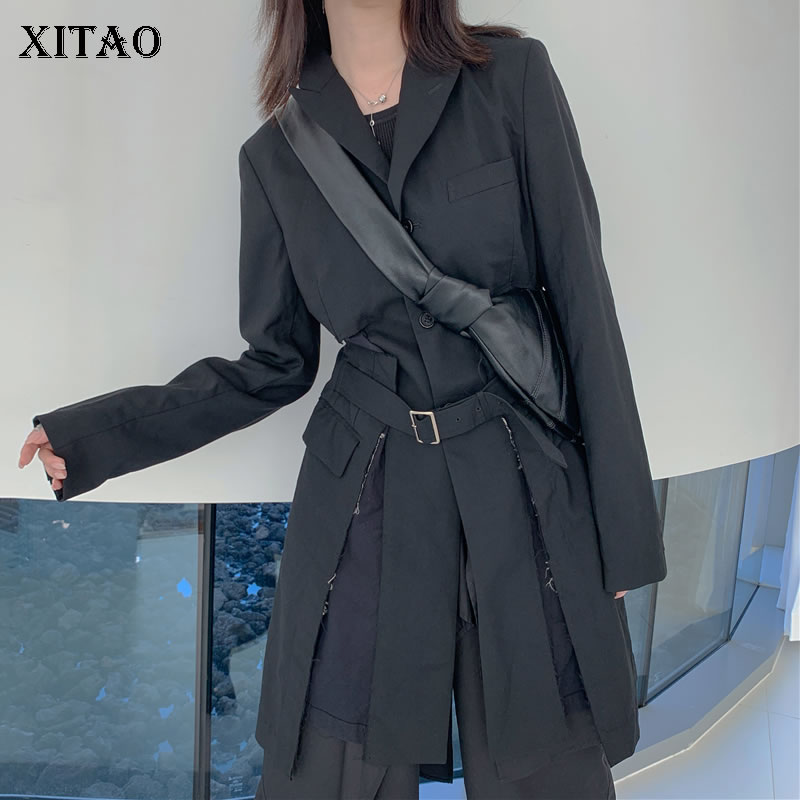 XITAO Long Personality Black Blazer Women Clothes 2020 Spring New Fashion Pocket  Sashes Notched Collar Coat Top Loose DMY3649