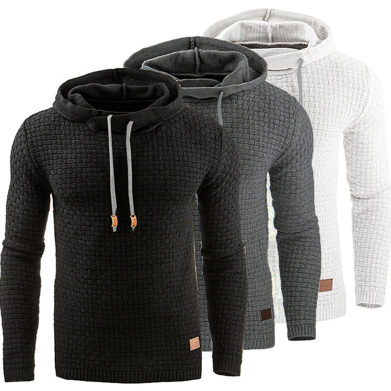 Mens Plaid Jacquard Hoodies Winter Casual Military Men Sweatshirt Fashion Slim Solid Street Sportswear Male Hoodie Tracksuit