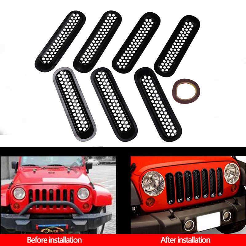 7 Uds parrillas de radiador delantero cubierta de malla de coche parrilla pieza delantera de coche modificado decoración Exterior piezas de repuesto para Jeep