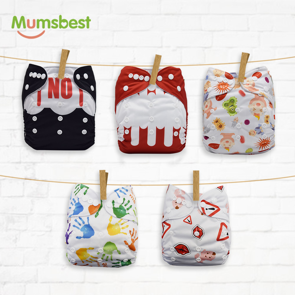 Mumsbest New 5PCS/Set Breathable Nappies Don't Kiss Me Cloth Diapers One Size Adjustable Pocket Baby Nappy Fit Weight 3-15kg