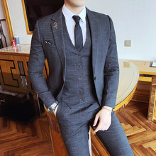 Gentleman Vintage Pinstripe Classic Decent Mens Suit Wedding Groom Party Banquet Smoking Costums Homme Slim Fit red Grey(China)