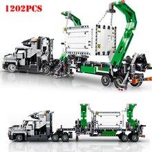 1202pcs Building Blocks Toys City Engineering Mark Container Big Truck Vehicles Car Compatible Legoing Technic Bricks WJ012