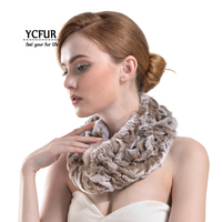Winter Warm Women Neck Scarf Muffler Handmade Rex Rabbit Fur Ring Scarf for Ladies Gift Scarves Wraps Female