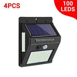 Vacamm luz solar externa, 100 leds pir sensor de movimento luz solar alimentado por luz solar parede rua para decoração de jardim