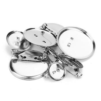 LOULEUR 50pcs/lot Rhodium 15 20 25 30 mm Round Brooch Base Cabochon Blanks Trays with Pins Cameo Setting