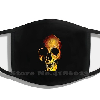 Skull Pattern, A Pattern For Metalists And Bikers Design Black Breathable Reusable Mouth Mask Skull Flames Brushes Metalhead image