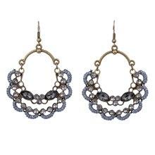 Antique Bronze String Braided Man Made Flower Drop Bohemian Earrings For Women Fashion Jewelry Girls