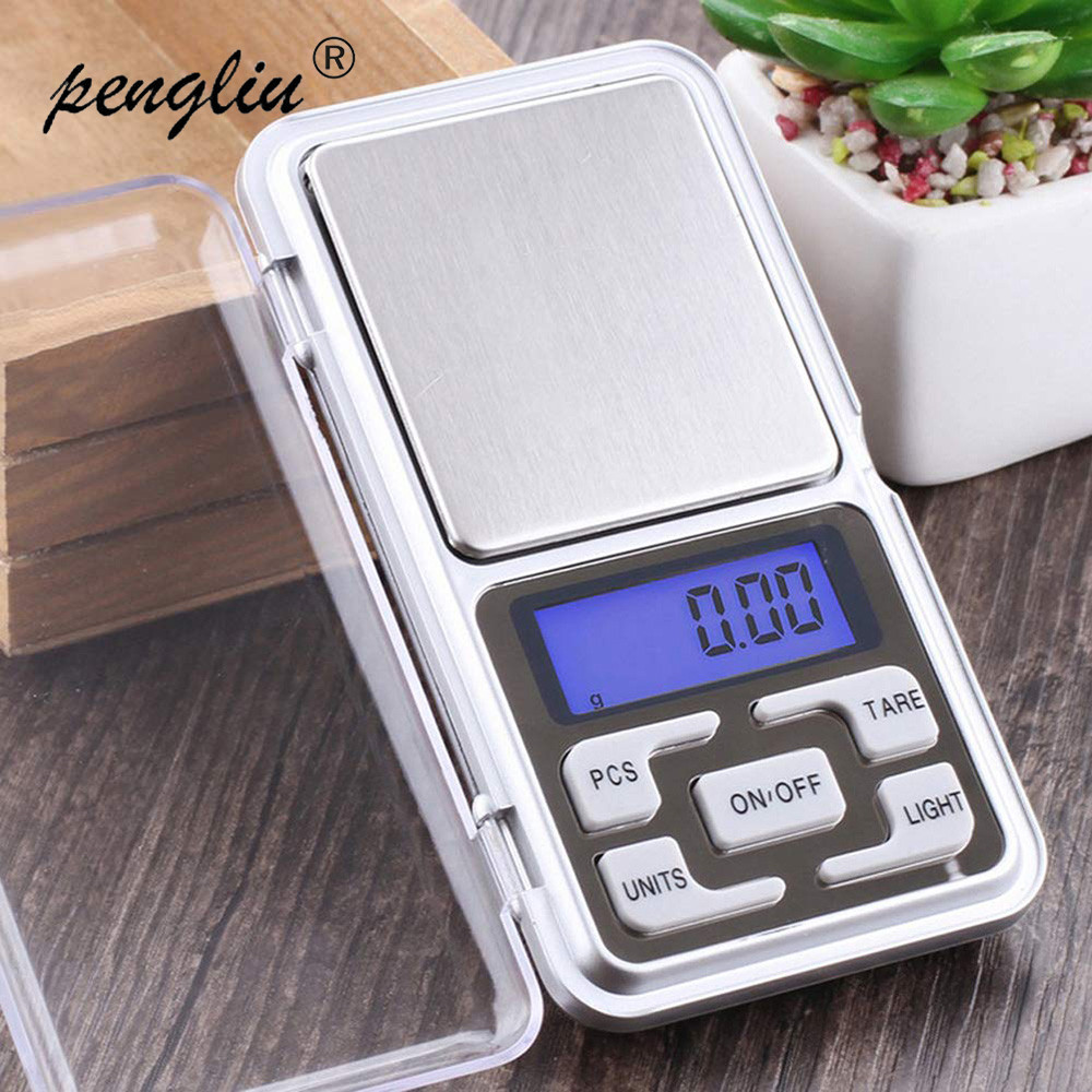 High Accuracy Mini Electronic Digital Pocket Scale Jewelry Calibration Weighing Balance Portable Counting Function Blue LCD