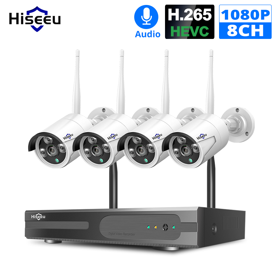Hiseeu 8CH Wireless NVR Kit P2P 1080P Audio Home Security Wasserdichte Straße Ip-kamera CCTV WIFI video überwachung System kit