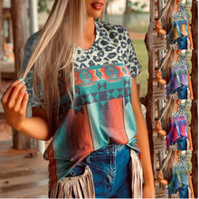 New Vintage Summer Casual Print Patchwork Fashion Pullovere Loose V Neck Short Sleeve Leopard Cloth Plus Size T-Shirt Tops