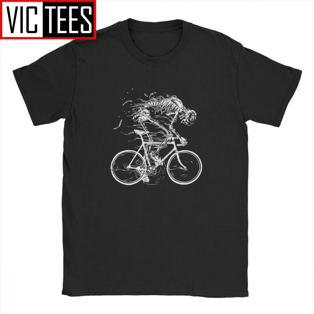 Men Skeleton Skull Cycle T Shirt Graphic Tees Novelty 100% Cotton T-Shirts Funny Tops For Men