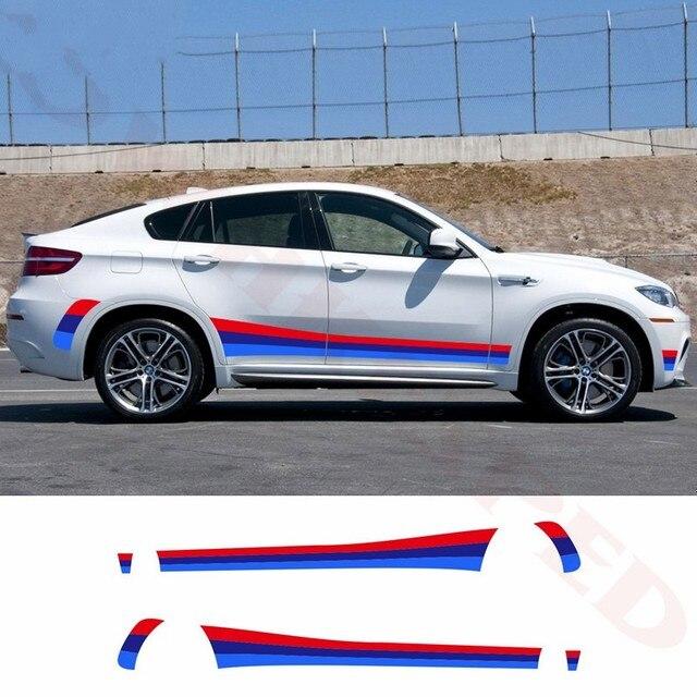Para bmw e70 e71 f15 f16 f25 f26 tricolor esporte listras porta lateral do carro saia adesivo decalque do vinil corpo automóvel acessórios exteriores