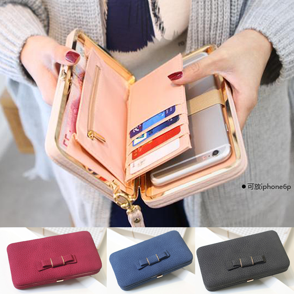 New Casual Long Women Heel Purses Box Wallets Card Holder Mobile Handbag Case Storage Bag Home