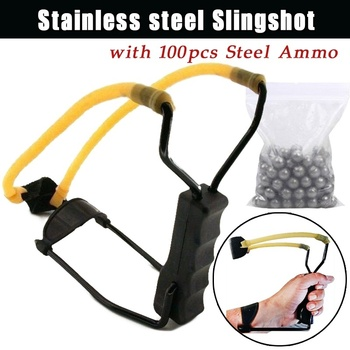 Powerful Stainless Steel Slingshot Folding Wrist-lock High Velocity Brace Hunting Catapult  Bow and Arrow Crossbow Hunting