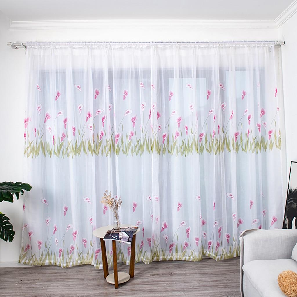 Window Curtain Living Room Bedroom Leaves Flowers Print Curtain Window Treatment Voile Drape Valance 1 Panel Fabric