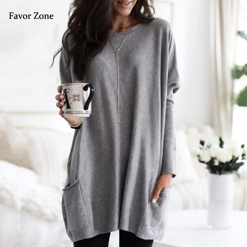Casual Dress Women Autumn Loose O Neck Long Sleeve Pockets T-shirt Dress Solid Color Simple Winter Warm Plus Size Vestidos XXXL