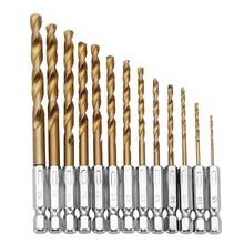 цена на 13pcs/set HSS Titanium Coated Drill Bits High Speed Steel Drill Bit Set 1/4 Hex Shank Power Drilling Tool For Wood 1.5-6.5mm