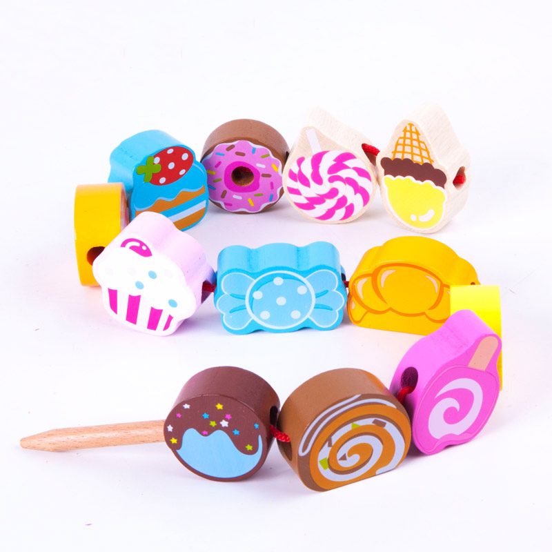 Parrowbebe Building Block Beaded Children Toys Puzzle Early Childhood Rope Wearing Manual Diy Boy Girl Wood Toy